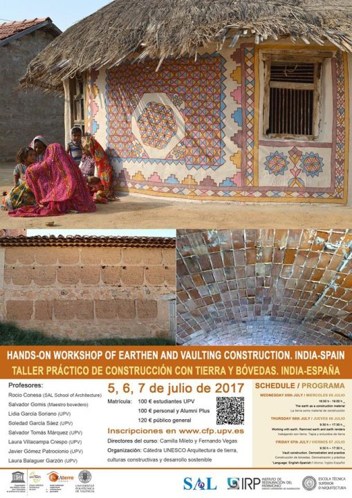 Taller práctico de construcción con tierra y bóvedas. India-España 2017. MediTERRE, the network of Mediterranean professionals of raw earth construction.