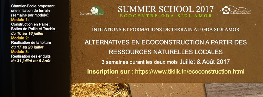 Summer school 2017 GDA Sidi Amor, Tunisie. MediTERRE, the network of Mediterranean professionals of raw earth construction.