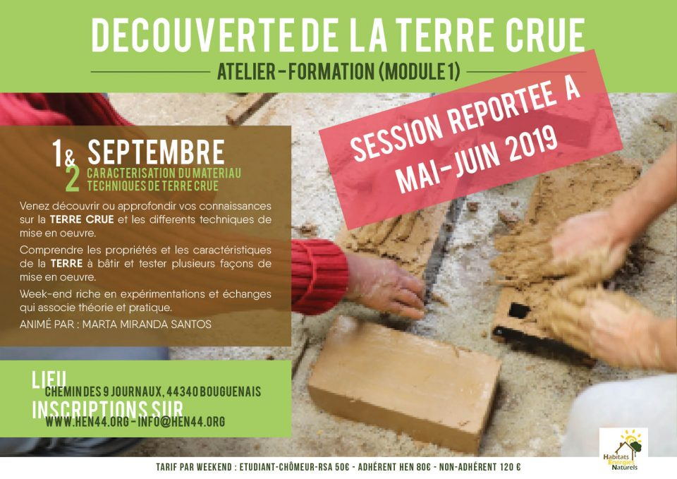 ATELIER-FORMATION DECOUVERTE TERRE-MODULE 1. MediTERRE, the network of Mediterranean professionals of raw earth construction.