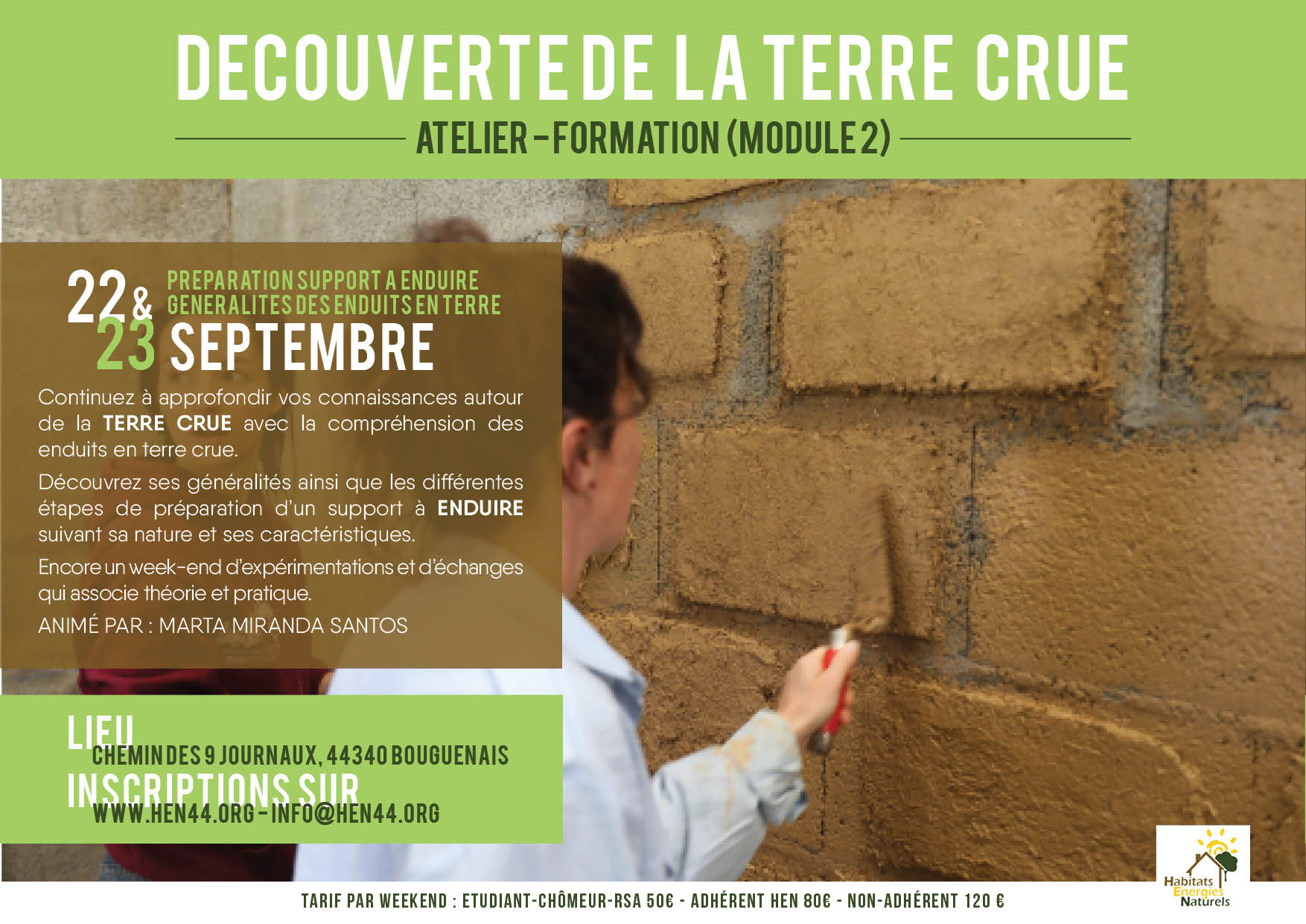 ATELIER-FORMATION DECOUVERTE TERRE-MODULE 2. MediTERRE, the network of Mediterranean professionals of raw earth construction.